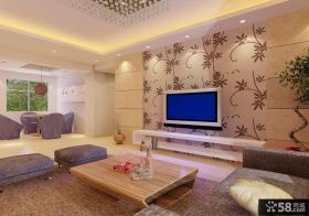 简约客厅电视墙壁纸装修设计
