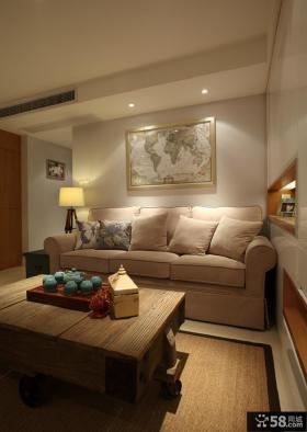 美式家庭客厅装饰画效果图片