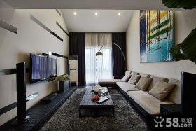 现代装饰小客厅电视背景墙2015