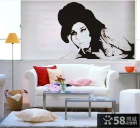 客厅沙发背景墙抽象装饰画图片