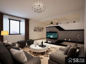 现代小两居客厅电视背景墙设计图片