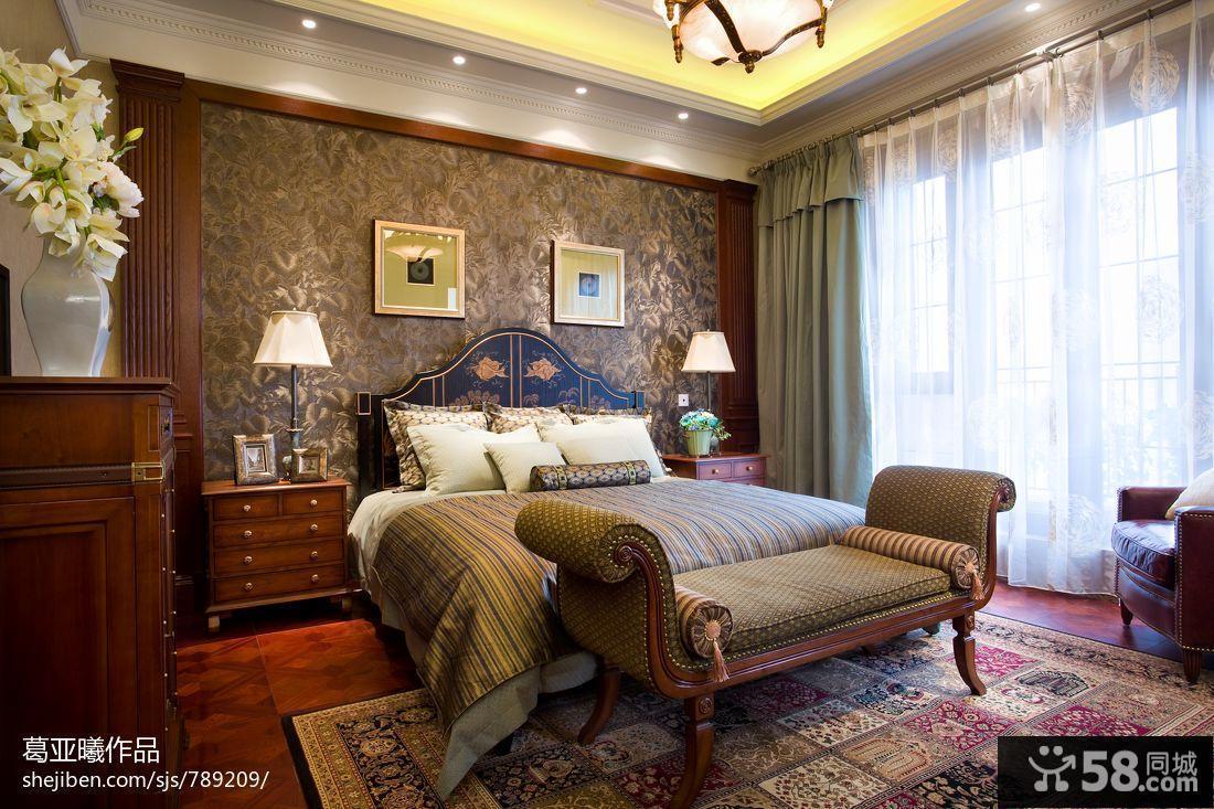 美式乡村卧室装修效果图图片