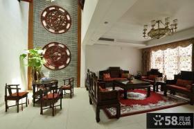 中式别墅实木家具摆放效果图