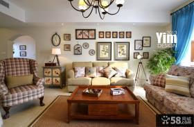 美式风格客厅装饰画背景墙效果图
