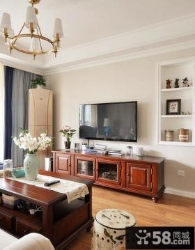 美式时尚客厅电视背景墙设计