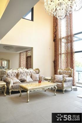 欧式别墅客厅沙发装饰