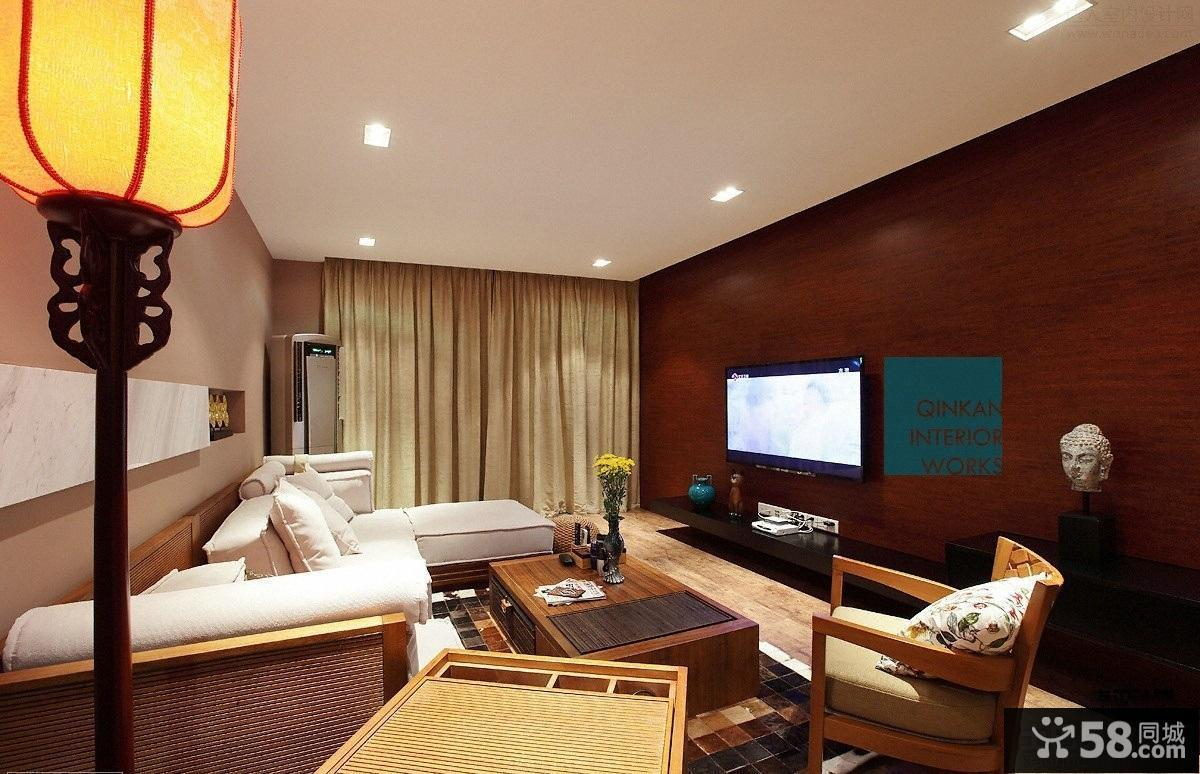 中式风格装修客厅电视背景墙效果图