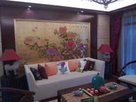 中式别墅样板间客厅装饰画效果图