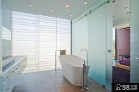 简约卫生间玻璃门图片