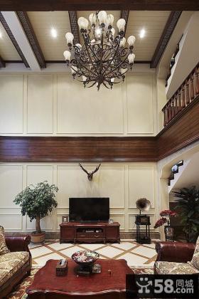 美式古典家居客厅吊顶设计装修
