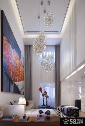 现代别墅挑高客厅吊顶效果图