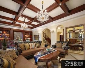 美式家装时尚客厅吊顶装修图片大全