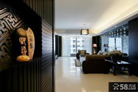 新中式家庭客厅玄关吊顶图片