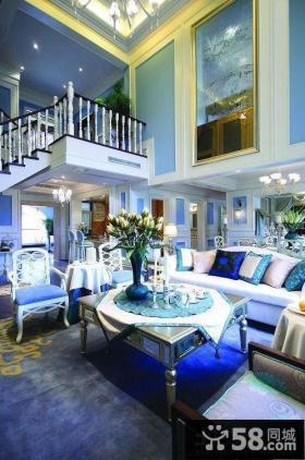 新古典蓝色调复式楼房装修效果图