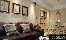 美式风格客厅沙发墙装饰画图片