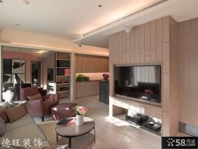 现代风格50平米小户型客厅电视背景墙装修效果图