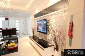 现代壁纸电视背景墙装修效果图片