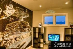 30万打造现代风格复式客厅电视背景墙样板房装修效果图