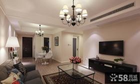 简约美式客厅电视背景墙装修设计