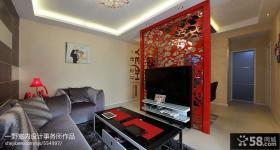 小户型客厅电视背景墙隔断效果图片