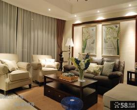 欧式客厅沙发背景墙窗帘效果图