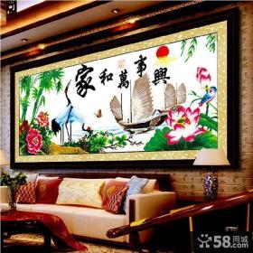 最新中式客厅十字绣图案