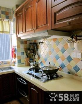 美式乡村三居室地中海风格厨房橱柜装修效果图大全2014图片