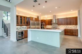 现代复式楼开放式厨房装修效果图