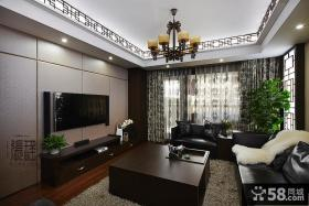 现代中式客厅硬包电视背景墙效果图