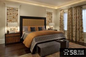 优质欧式田园风格复式楼卧室背景墙装修效果图