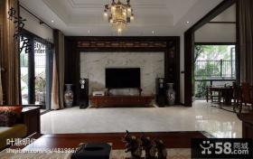 优质中式客厅电视背景墙效果图大全2013图片