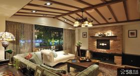 美式乡村家居客厅整体装修效果图