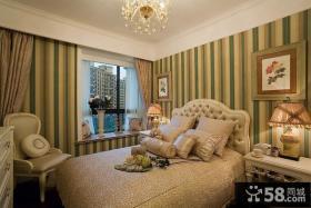 欧式风格卧室条纹壁纸图片