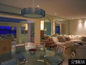美式风格客厅餐厅吊顶装修效果图