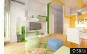 橙色浪漫的现代风格小户型客厅电视背景墙装修效果图