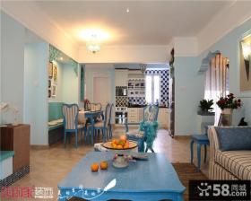 地中海风格客厅餐厅一体效果图片