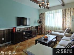 美式风格二居客厅电视墙效果图