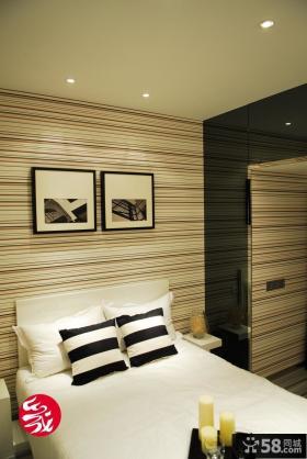 现代简约小户型卧室壁纸背景墙装修效果图