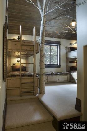 阁楼卧室上下铺床装修设计