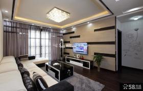 现代二居客厅电视背景墙装修效果图片