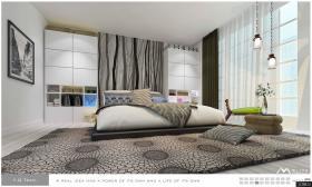 简约风格卧室床头柜背景墙装修效果图