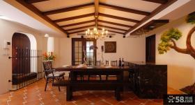 美式乡村风格室内木吊顶装饰图片