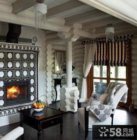 美式乡村别墅暗色系客厅装修效果图大全2012图片