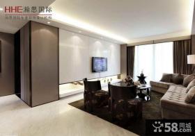 现代一室一厅客厅瓷砖电视墙效果图