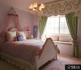 欧式田园婚房卧室装修效果图大全2012图片 卧室飘窗窗帘设计图片