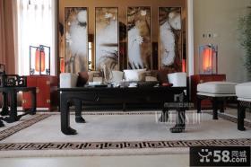 中式风格别墅客厅背景墙效果图
