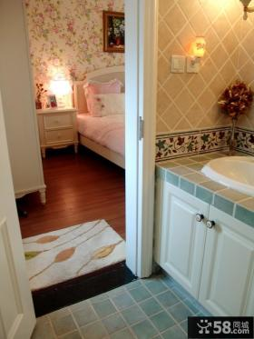 欧式田园风格主卧室床头柜图片