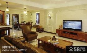 简约美式客厅电视背景墙效果图