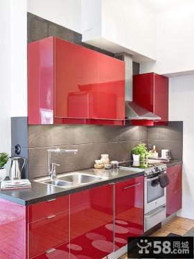 一字型厨房橱柜颜色效果图欣赏