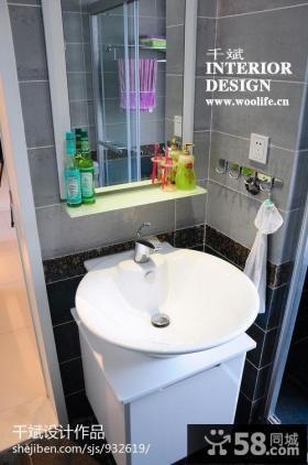 现代简约风格卫生间洗手盆柜子装修效果图